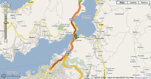 Mapa de la R�a de Vigo