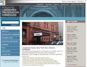 Página de la Comisión de Preservación de Sitios Históricos con una fotograf�a de Webster Hall en portada
