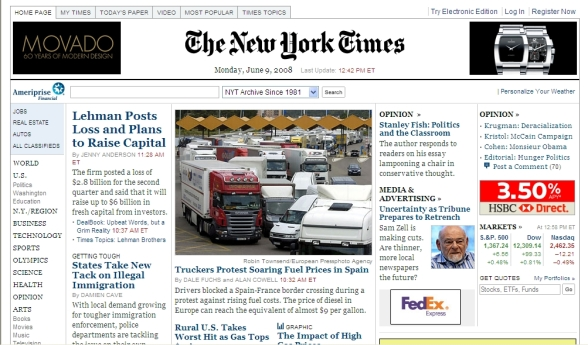 Portada del New York Times, esta tarde