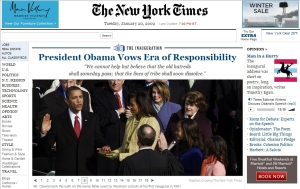 Juramento de Obama en la portada de The New York Times