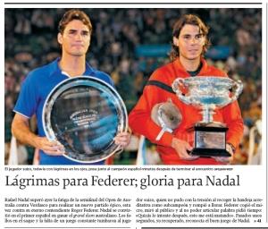 Federer y Nadal posan con sus trofeos, con el suizo aún con lágrimas en los ojos. La Voz de Galicia