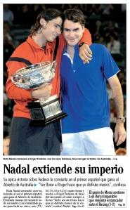 Nadal consuela a Federer en la entrega de trofeos. Faro de Vigo