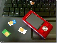 Varias tarjetas prepago, junto con el teléfono móvil del autor